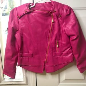 Other - Girls hot pink faux leather jacket NWT